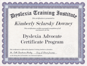 Certified Dyslexia Advocate